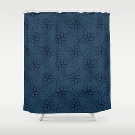 Geometric Flower Motif Faded Denim Shower Curtain