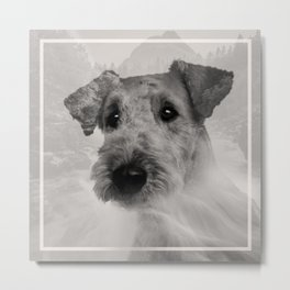 Airedale Terrier Double Exposure Metal Print