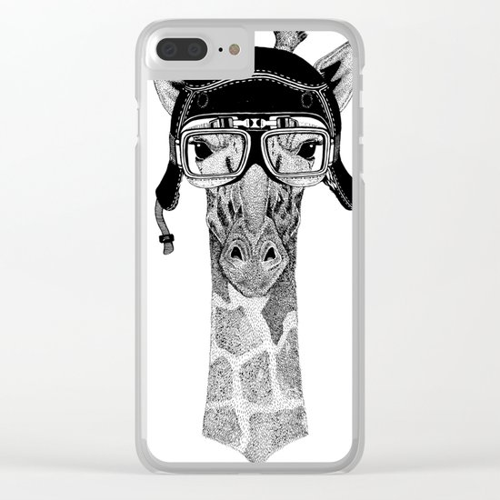 Giraffe Helmet Clear iPhone Case