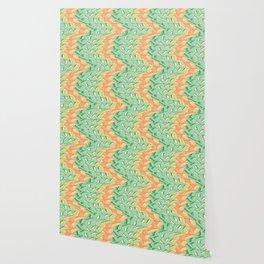 Emerald and salmon pattern Wallpaper