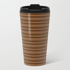 Bronze Tone Stripe Metal Travel Mug