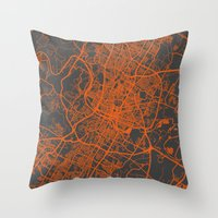 austin Throw Pillows featuring Austin map by Map Map Maps