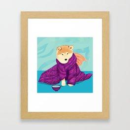 Shiba Inu Wearing a Purple Kimono, Enjoying Matcha Tea Framed Art Print