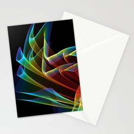 Dancing Northern Lights, Abstract Summer Sky Stationery Cards
