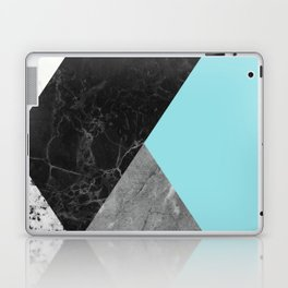 Black and White Marbles and Pantone Island Paradise Color Laptop & iPad Skin