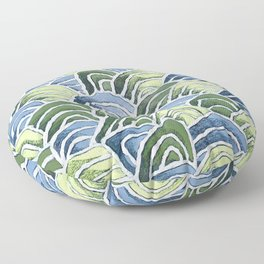 Waves with Wax Pastels for Ocean Lovers by Christie Olstad Floor Pillow