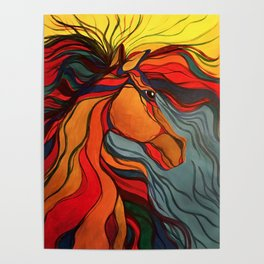 Wild Horse Breaking Free Southwestern Style Poster