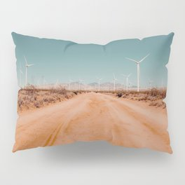 Wind turbine in the desert with sandy road at Kern County California USA Pillow Sham