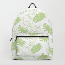 Hand painted mint green floral cactus tropical leaves typo Backpack