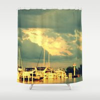 sail Shower Curtains featuring Lets Go For a Boat Ride by 2sweet4words Designs