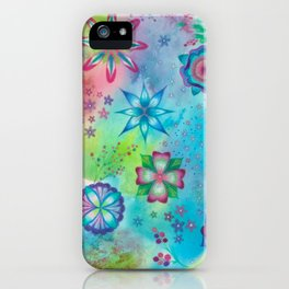 Whimsical colourful wild flowers art painting iPhone Case