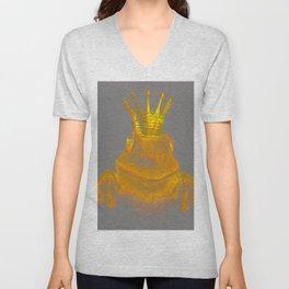 Simple Golden King Frog on Grey Day Unisex V-Neck
