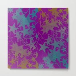 Vector dark purple metallic background in blue stars. For registration of paper or banners. Metal Print