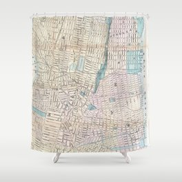 Vintage Map of Jersey City and Hoboken (1886) Shower Curtain