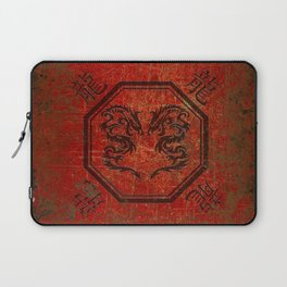 Distressed Dueling Dragons in Octagon Frame With Chinese Dragon Characters Laptop Sleeve