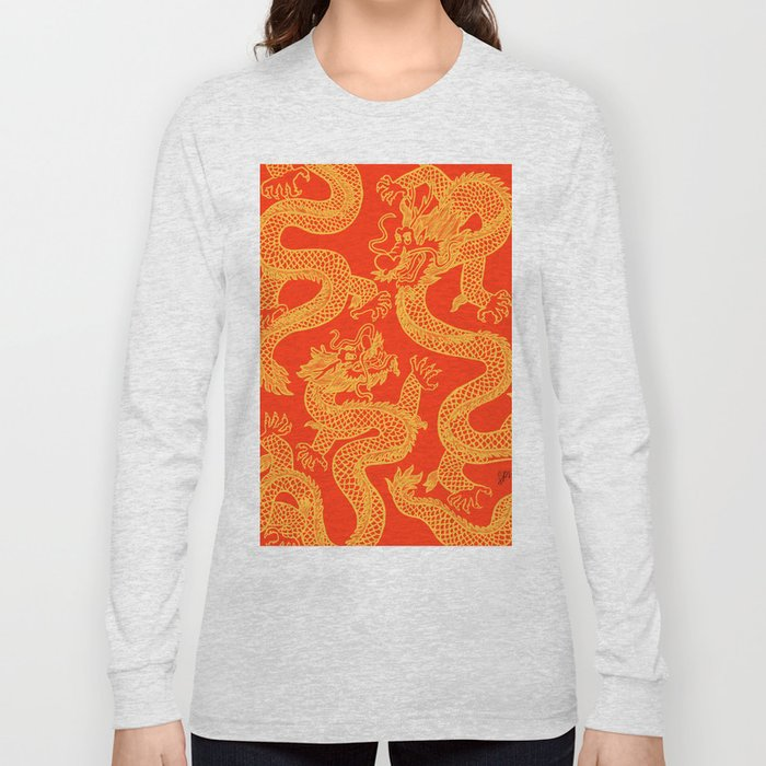 Red and Gold Battling Dragons Long Sleeve T-shirt