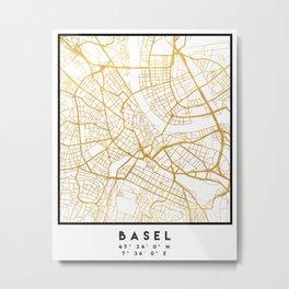 BASEL SWITZERLAND CITY STREET MAP ART Metal Print