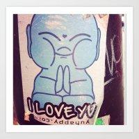 I LOVE YOU Buddha Art Print