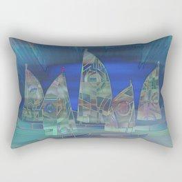 Geometric Sailboat Serenity Rectangular Pillow