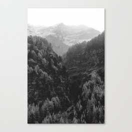 Between The Mountains (Black and White) Canvas Print