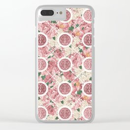 Double Happiness Symbol on Gentle Peony pattern Clear iPhone Case