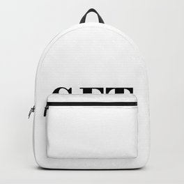 Get naked typographic design in black and white Backpack
