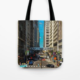 Cartoony Downtown Chicago Tote Bag