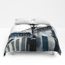 Dumaine and Bourbon - Street Sign in New Orleans French Quarter Comforters