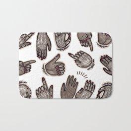 hand gestures and white henna tattoo Bath Mat