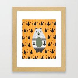 Cute bear, stripes and a fir forest Framed Art Print