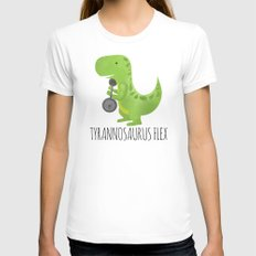 Tyrannosaurus Flex Womens Fitted Tee White LARGE