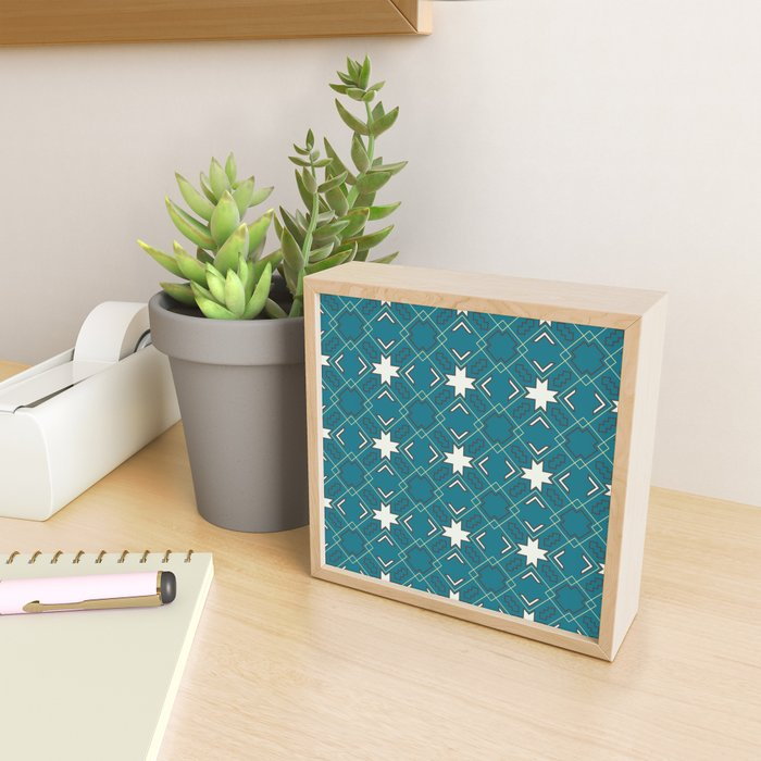 Ethnic pattern in blue Framed Mini Art Print