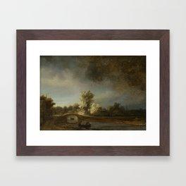 Landscape with a Stone Bridge, Rembrandt Harmensz. van Rijn, c. 1638 Framed Art Print