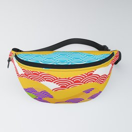 Summer bright pattern  scales simple Nature background with Chinese wave circle pattern Fanny Pack