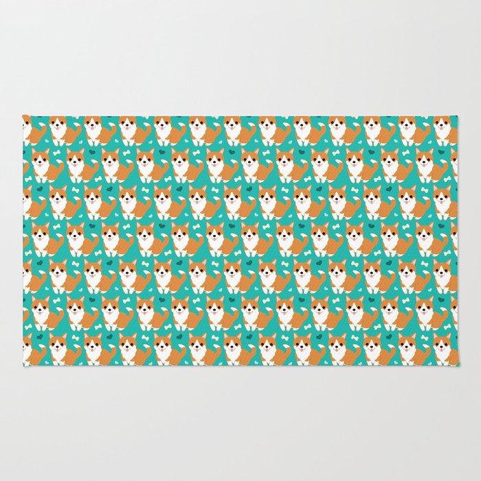 Cute corgi illustration on turquoise background pattern Rug