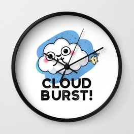 Cloud Burst Cute Weather Fart Pun Wall Clock