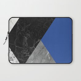 Black and White Marbles and Pantone Lapis Blue Color Laptop Sleeve