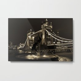 Girl and Dolphin and Tower Bridge Metal Print