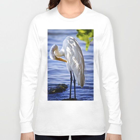 Great Egret Grooming Long Sleeve T-shirt
