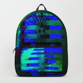 Green Layered Star in Blue Flames Backpack