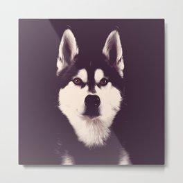 Vintage Oil Painting Husky Dog Special Design for Dog Lovers Metal Print