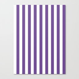 Narrow Vertical Stripes - White and Dark Lavender Violet Canvas Print