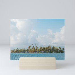 Palm trees and blue sky  - Tropical summer landscape Mini Art Print
