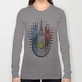 Racquet Eiffel Tower with French flag colors in background Long Sleeve T-shirt