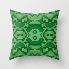 Geometric Aztec in Forest Green Throw Pillow