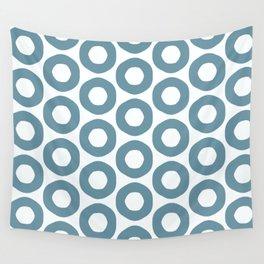 Minimalist Blue Grey Poka Dots Wall Tapestry