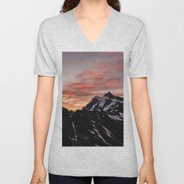 Pink Sky - Cascade Mountains - Nature Photography Unisex V-Neck