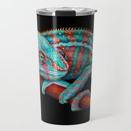 Panther Chameleon Turquoise Blue & Coral Red Travel Mug