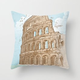 colosseum color hand draw background Throw Pillow