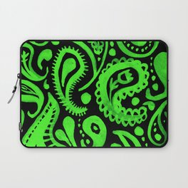 Handpainted Paisley Pattern Aqua and Green Color Laptop Sleeve